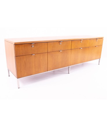 Florence Knoll Style Mid Century Long Walnut and Chrome Sideboard Credenza Filing Cabinet