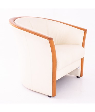 Ekornes Mid Century Teak and White Leather Lounge Chair