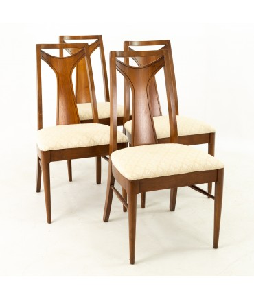Kent Coffey Perspecta Mid Century Walnut Dining Chairs - Set of 4