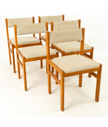 D-Scan Mid Century Teak Upholstered Dining Chairs - Set of 5