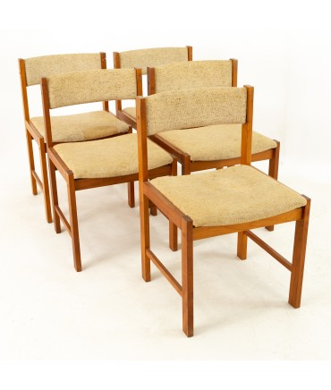 D-Scan Mid Century Teak Upholstered Curved Back Dining Chairs - Set of 5