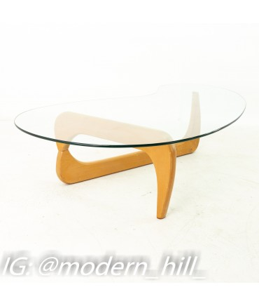 Isamu Noguchi Style Mid Century Blonde and Glass Coffee Table