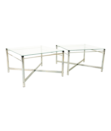 Milo Baughman Style Mid Century X Base Chrome and Glass Side End Tables - Pair