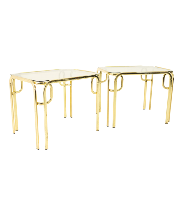 Morex Italian Mid Century Brass and Glass Side End Tables - Pair