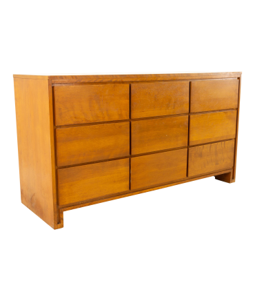Russel Wright for Conant Ball Mid Century Blonde 9 Drawer Lowboy Dresser
