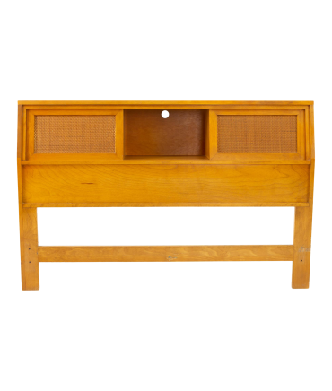 Russel Wright for Conant Ball Mid Century Blonde and Cane Full Queen Storage Headboard