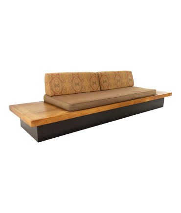 Adrian Pearsall Style Mid Century Walnut Daybed Sofa on Plinth Base