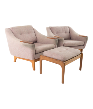 Folke Ohlsson for Dux Teak Upholstered Lounge Chairs and Ottoman