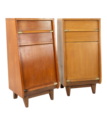 United Mid Century Walnut Tall Nightstand Foyer Entry Console - Pair