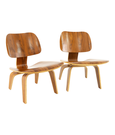 Charles and Ray Eames Style Mid Century Walnut LCW Occasional Lounge Chairs - Pair