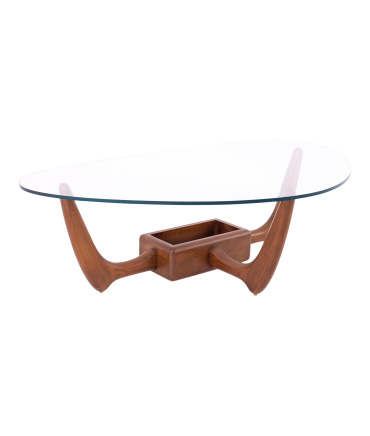 Kroehler Mid Century Walnut Biomorphic Glass Coffee Table with Planter Base