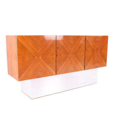 Milo Baughman for Thayer Coggin Mid Century Rosewood Floating Credenza with Chrome Plinth Base
