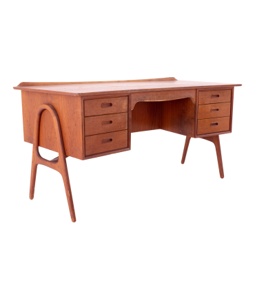 Svend Madsen Danish Teak Mid Century Double Sided Executive Writing Desk with Curved Top