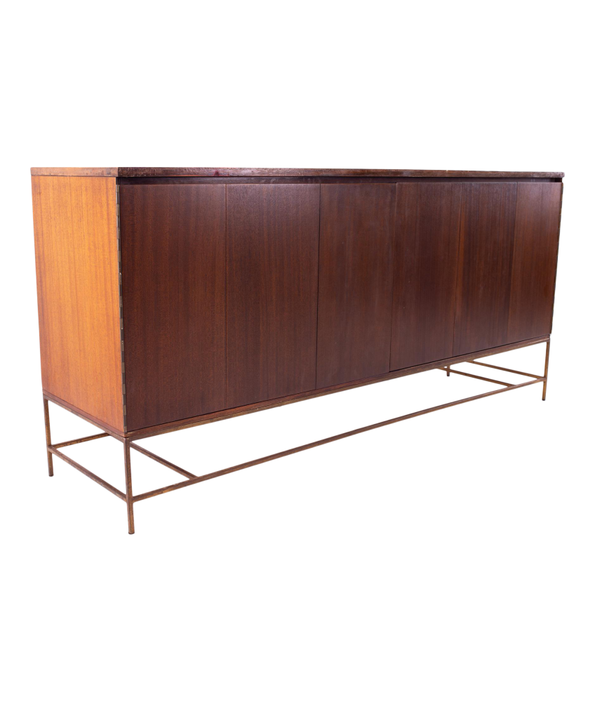Paul McCobb for Calvin Mid Century 16 Drawer Mahogany and Brass Sideboard Buffet Credenza