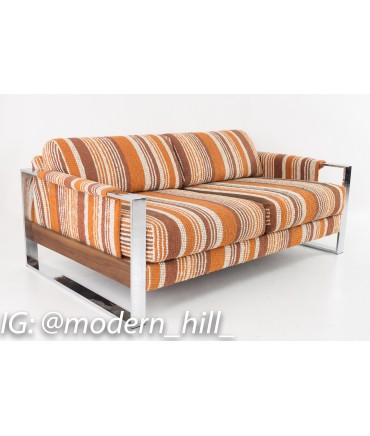 Adrian Pearsall for Craft Associates 70s Pattern Fabric Chrome and Wood Setee Loveseat
