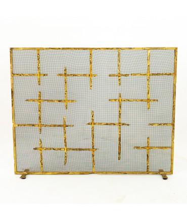 Brutalist Mid Century Wrought Iron and Brass Finish Fireplace Screen