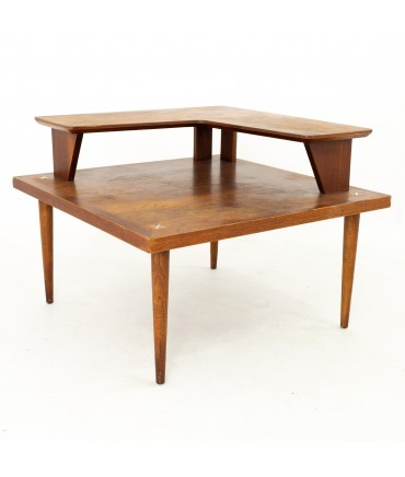 Merton Gershun for American of Martinsville Mid Century Walnut Two Tier Corner Side End Table with X Inlay
