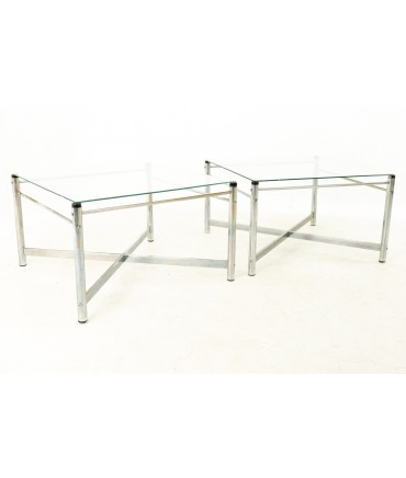 Milo Baughman Style X Base Glass and Chrome Side End Tables - Pair