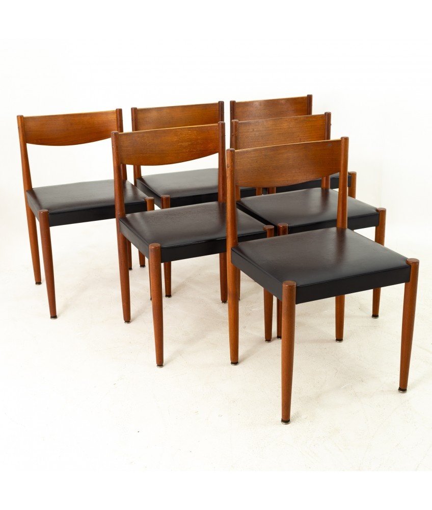 Poul Volther For Frem Rojle Danish Mid Century Teak Dining Chairs Set Of 6