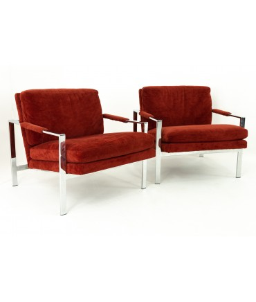 Patrician Furniture Company Milo Baughman Style Mid Century Chrome Lounge Chairs - Pair