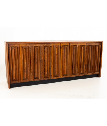 Dillingham Mid Century Pecky Cypress and Walnut Sideboard Credenza Buffet