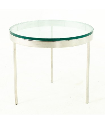 Milo Baughman Style Mid Century Glass and Chrome Side End Table