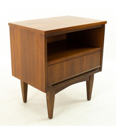Mid Century Single Drawer Walnut Nightstand