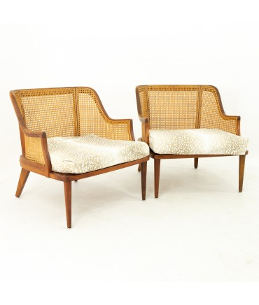 Mid Century Walnut and Cane Upholstered Lounge Chairs - Pair