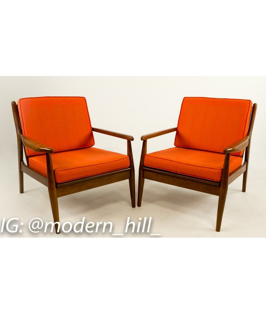 Milo Baughman Style Danish Modern Lounge Chairs - Pair