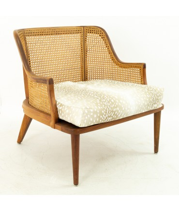 Mid Century Walnut and Cane Upholstered Lounge Chair