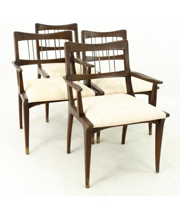 Paul McCobb Style Mid Century Dark Walnut Dining Chairs - Set of 4