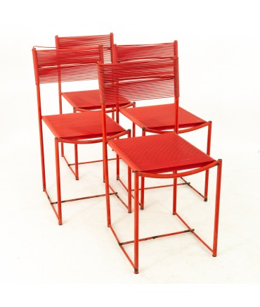 Giandomenico Belotti for Alias Mid Century Red Spaghetti Dining Chairs - Set of 4