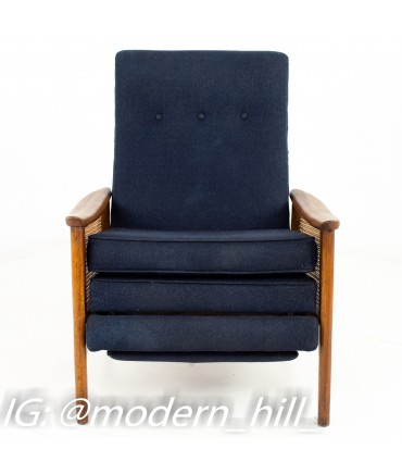 Milo Baughman Mid Century Walnut and Caned Reclining Lounge Chair