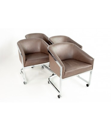 Milo Baughman for Design Institute of America Mid Century Modern Chrome Side Lounge Club Chairs with Casters - Set of 4