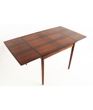 Poul Hundevad Mid Century Rosewood and Leather Reversible Hidden Leaf Dining Card Table