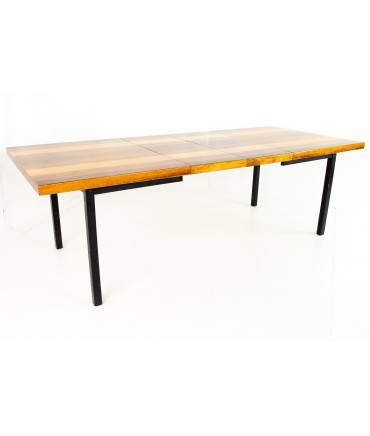 Milo Baughman for Directional Mid Century Multi-Wood Rosewood Walnut and Ash Dining Table (Glossy Finish)