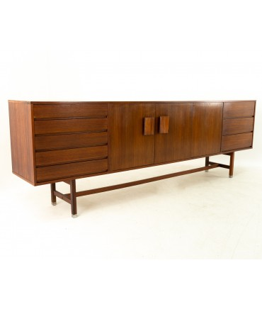 """Mid Century Teak and Rosewood Extra Long 99"""" Credenza"""