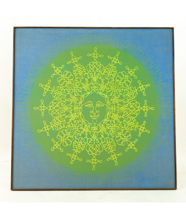 Large Silkscreen of Smiling Sun on Canvas by Tom Tru