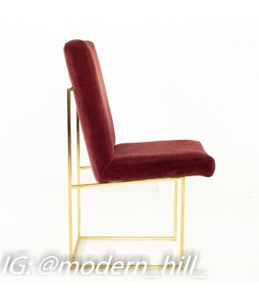 Milo Baughman for Thayer Coggin Mid-Century Brass and Velvet Thinline Dining Chairs - Set of 6