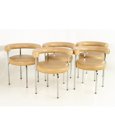 French Style Chrome and Vinyl Barrel Dining Chairs - Set of 5