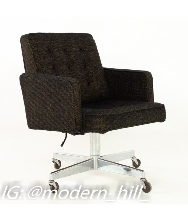 George Nelson Style Shaw Walker Chrome & Tufted Wool Upholstered Office Desk Chair