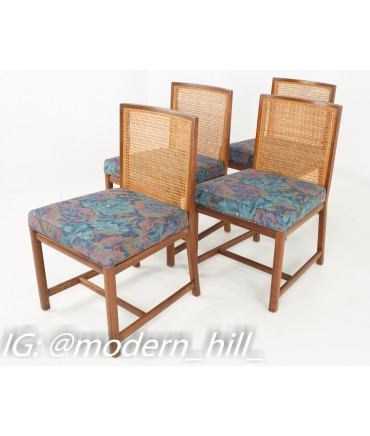 Michael Taylor for Baker Mid Century Caned Walnut Dining Chairs - Set of 4