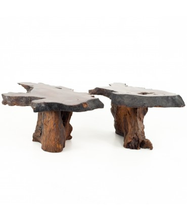 George Nakashima Style Mid Century Live Edge Side End Tables - Pair