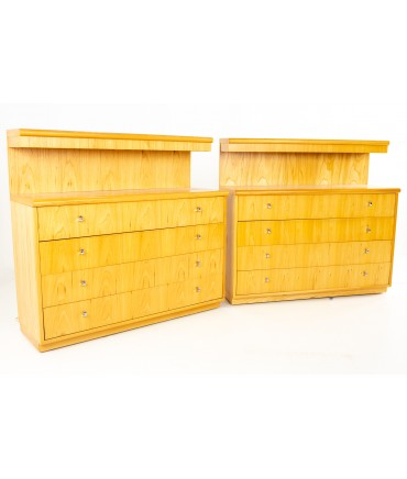 Jack Cartwright for Founders Mid Century Lighted Blonde Maple 4 Drawer Low Dresser Chest - Pair