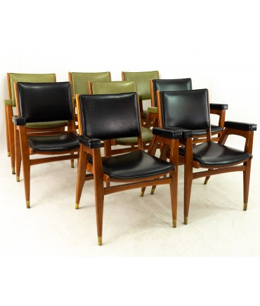Stanley Furniture Mid Century Walnut and Brass Dining Chairs - Set of 8
