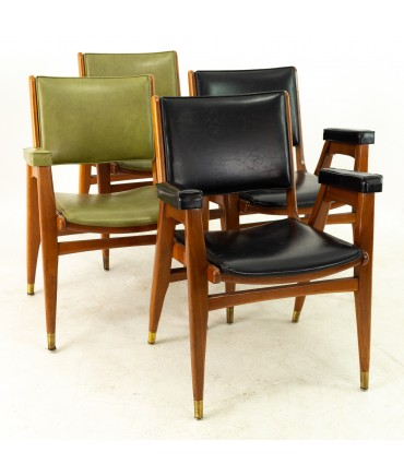 Stanley Furniture Mid Century Walnut and Brass Dining Chairs - Set of 4