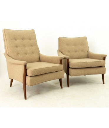 Milo Baughman Style Mid Century His and Her's Lounge Chairs - Pair