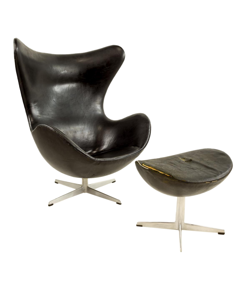 Original 1960s Leather Egg Chair & Ottoman designed by Arne Jacobsen for Fritz Hansen