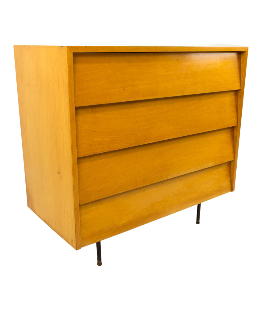 Early Florence Knoll Maple Chest Dresser with Metal Legs
