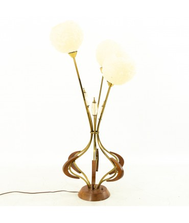 Mid Century Walnut and Brass Spaghetti Noodle Shade Table Lamp